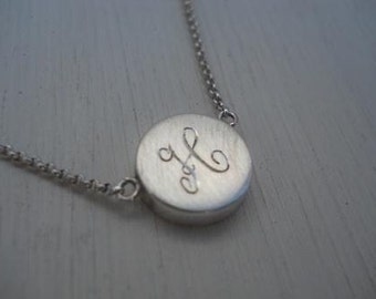 Letter Monogram engraved necklace