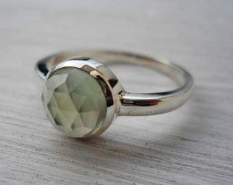 Prehnite ring rose cut prehnite ring pale green gemstone ring silver ring sterling silver prehnite ring