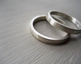 Wedding bands set sterling silver wedding band wedding rings set mens ring unisex ring wedding ring set wedding band Matte - TWO rings