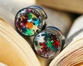 """Star Glitter Plugs in Resin for gauged ears custom size 00g,7/16g, 1/2g, 9/16g, 5/8g, 3/4g, 7/8g, 1"""""""