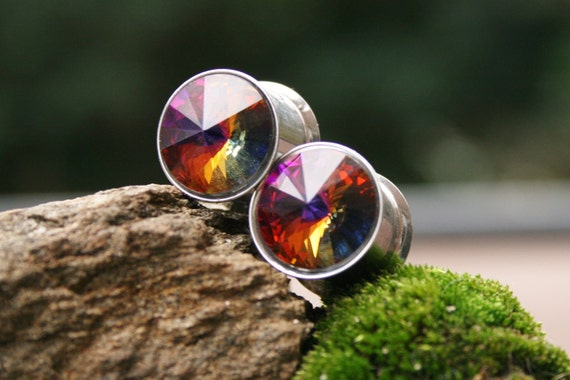 Crystal Rainbow Fire Plugs made with Swarovski Crystals for gauged ears custom size 0g, 00g, 7/16g, 1/2g, 9/16g