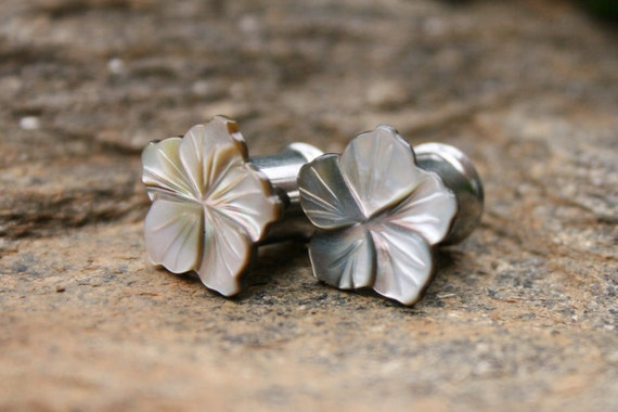 Flower Plugs Mother of Pearl Plugs One of a Kind Gauges 0g 8mm