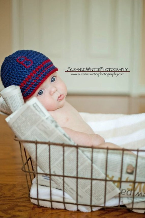 Newsboy Hat for the RedSox fans SIZES Newborn or 3mo
