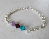 MOTHER'S DAY SALE! Mother's 3 Birthstone Chain or Pearl Bracelet