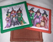 "Quilted Halloween Pot Holders: MAKE THREE WITCHES --Set of 2 - 7"" Square - TessieTextile"