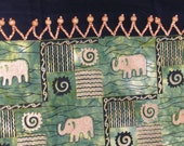 Quilted TableRunner AFRICAN ELEPHANT TABLE in Green Black and Gold with Wood Beads