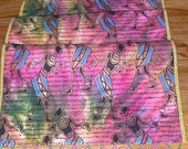 Quilted AFRICAN PRINT RUNNER with wood bead trim in greens, pinks and blues with gold accents