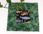 QUILTED GREEN FISH Mug Rug, Snack Mat, Candle Mat
