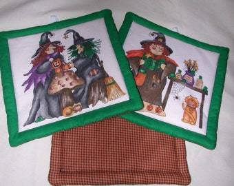 QUILTED HALLOWEEN POTHOLDERS - Good Witches  - Set of  2 -  7 in square