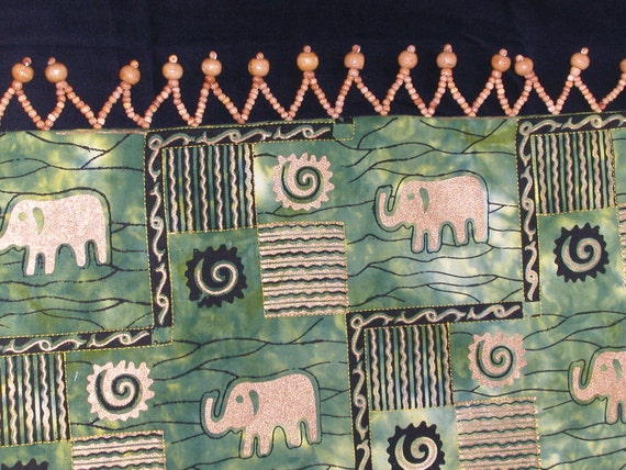 Quilted TableRunner AFRICAN ELEPHANT TABLE in Green Black and Gold with Wood Beads.  A Quiltsy Handmade item on Etsy!