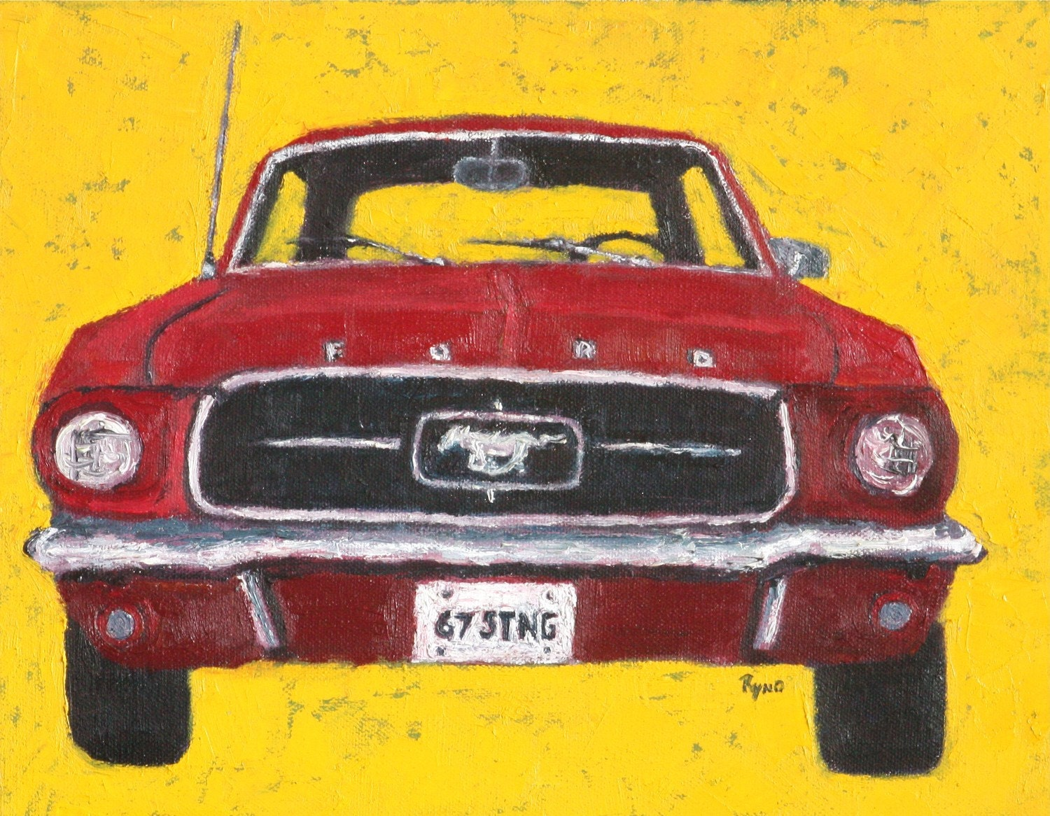 67 ford mustang art print home decor wall by paintingsbyryno blue ford mustang tin sign garage bar pub diner cafe home