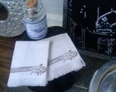 White And Black Guest Towels - Dollhouse Size- Free US Shipping