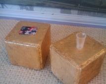Miniature Golden Cube Table - Dollhouse Size