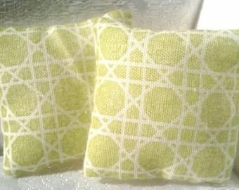 Miniature Decorator Pillows - Green Wicker Print - Dollhouse Size