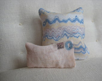 Blue and Creme Beach Wave and Letter Pillow Pair - Dollhouse Size