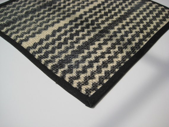 Chevron Black and Ivory Sisal Rug - Modern Miniature - Dollhouse Size