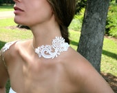 White/ Ivory Bridal Lace Silver Shoulder Necklace - Adjustable