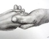 Clasped hands original pencil drawing