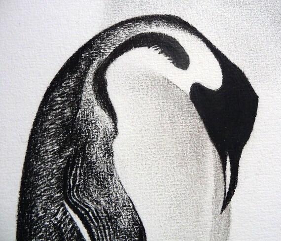 Penguin original charcoal drawing