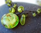 Glass Bead Necklace Peridot Green