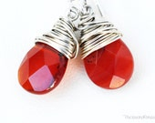 Carnelian Earrings Teardrop Wine Red