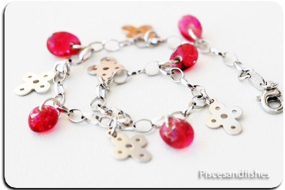 Silver Charms Bracelet Cross and Pink Glass Beads