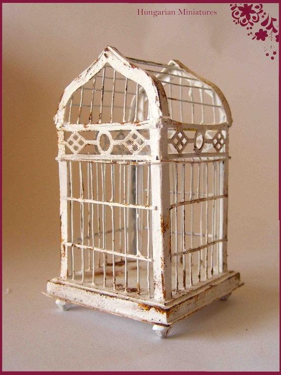 Shabby white birdcage