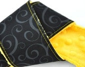 Camera Strap Cover dSLR / SLR Black Swirl, Gold Minky Go Bruins