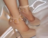 Pair Of Beige Beaded Ankle Glams By Designs By Loure' - Also called Anklets, Ankle Bracelets, Ankle Cuffs, Ankle Jewelry, HALF PRICE SALE