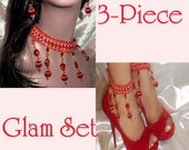 3-Piece Glam Set - Red Beaded Ankle Bracelets/Glams With Matching Necklace And Earrings