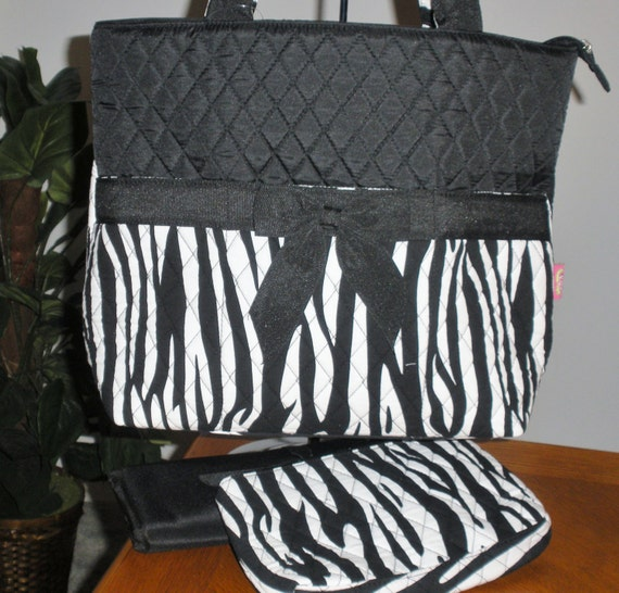 Quilted Zebra Black and White Diaper Bag or Tote with matching pad