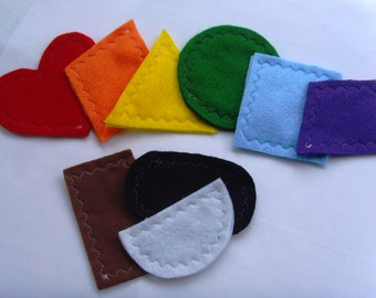 Oversized Felt Shapes in rainbow colors
