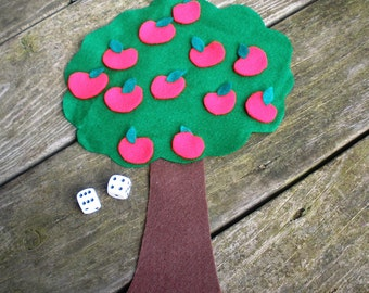 How Many Apples on the Tree- felt counting, adding and subtracting math game