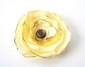 Lemon Buttercream Chiffon Flower Hair Clip // Fall Fashion