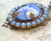 Regal Deep Blue Cabochon and Rhinestone Vintage Style Necklace