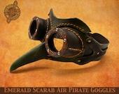 Emerald Scarab Steampunk Air Pirate goggles mask