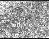 Black and White fantasy landscape illustration of a port city