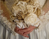 Beautiful Victorian Bridal Bouquet, handmade of vintage fabrics and lace.