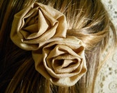 Set of 2 Vintage Rose Bobby Pins, handmade of vintage fabric