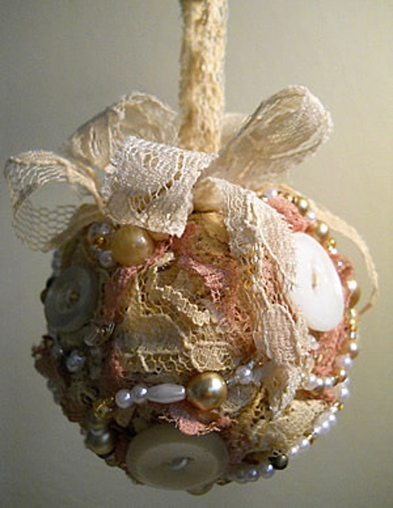 FREE SHIPPING, Vintage Christmas Ornament handmade of vintage lace, pearls and buttons.