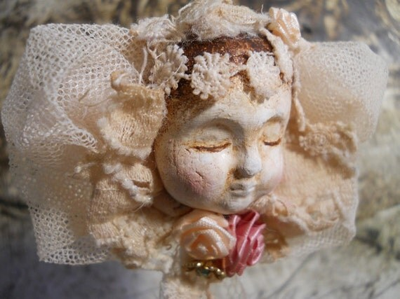 One of a Kind, Angel Art Doll Christmas Ornament, Handmade of Clay, Vintage Lace & Embellishments. FREE SHIPPING