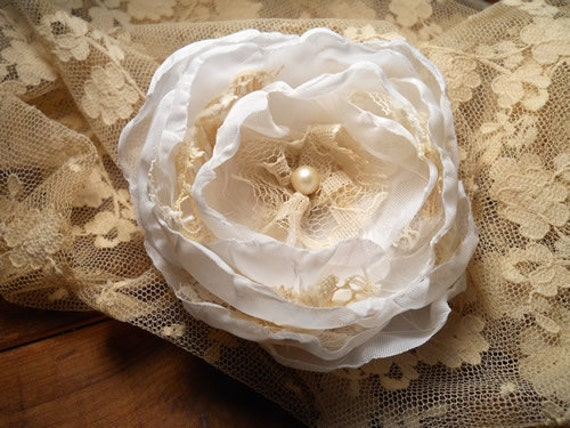 Wedding Rose Flower Hair Clip, handmade of fabric and vintage lace.