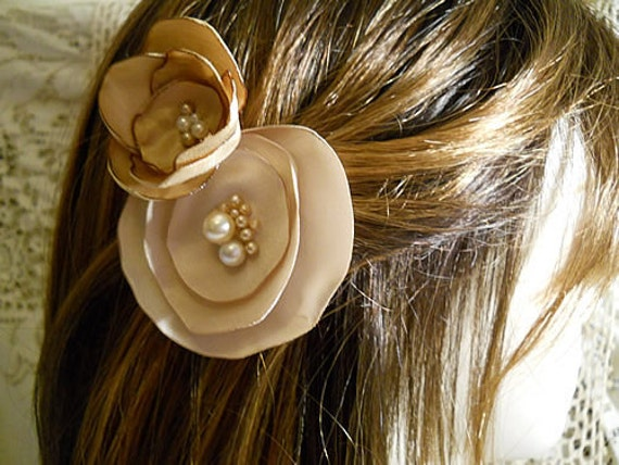 "Set of 2 Vintage Lollipop Flower Bobby Pins, handmade of vintage satin and pearls. ""READY TO SHIP"""