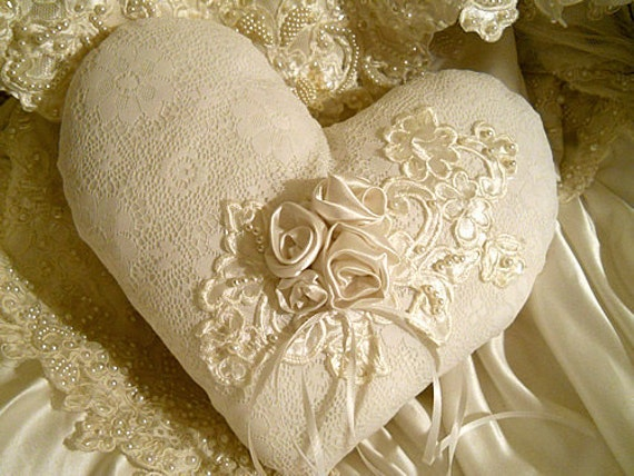 Beautiful Victorian Heart Shaped Vintage Ring Bearer Pillow, handmade of vintage fabrics and lace.