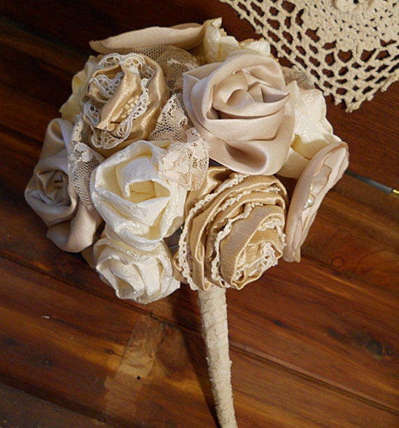 Reserved for ColourSchemes, Beautiful Victorian Bridal Bouquet, handmade of vintage fabrics and lace. FREE Shipping