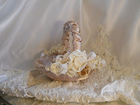 Satin Flower Girl Basket handmade of champagne satin and embellished with handmade vintage flowers and lace.