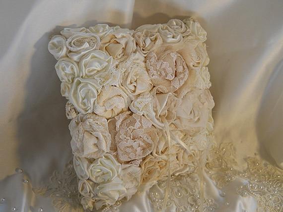 Burlap Ring Bearer Wedding Pillow handmade of burlap and embellished with handmade vintage flowers.