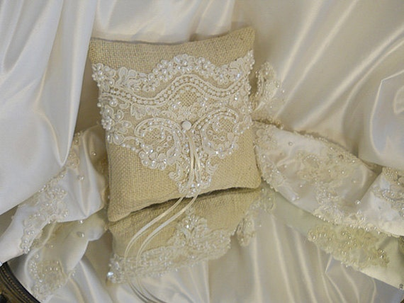 Burlap Ring Bearer Wedding Pillow, handmade of bleached burlap and wedding lace and pearls.