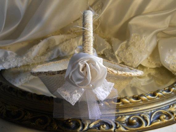 Burlap Bridal Flower Girl Basket handmade of bleached burlap, twine, ivory satin rosettes, white lace and tulle.