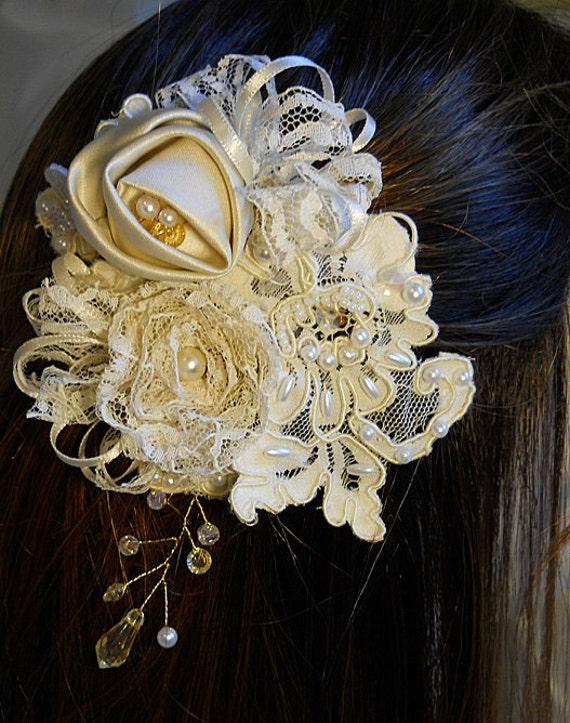 7 Piece Bridal Hair Pin Set, handmade of vintage bridal gown lace, ivory satin, ivory ribbon and pearls.